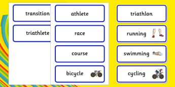 Rio 2016 Olympics Triathlon Word Cards - Triathlon, Olympics, Olympic Games, sports, Olympic, London, 2012, word card, flashcards, cards, activity, Olympic torch, events, flag, countries, medal, Olympic Rings, mascots, flame, compete