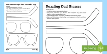 Father's Day Dazzling Dad Sunglasses Craft English/German - Father's Day Dazzling Dad Sunglasses Gift Craft - gift, craft, fathers day, EAL, Geman, English-Ger