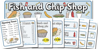 Fish And Chip Shop Role Play Pack - Fish and Chip, shop, fast food, Role play, play, chip butty, food, eating, English, haddock, cod, mushy peas, Early Years (EYFS), KS1 & KS2 Primary Teaching Resources