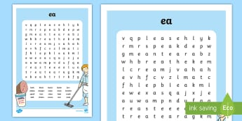 'ea' Digraph Differentiated  Word Search - cross word, ea, jolly phonics, jolly grammar, english, 1st class, 2nd class, first class, second cla