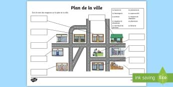Feuille d'activités : Carte des magasins de la ville - vocabulaire, se repérer, magasins, carte, cycle 1, worksheet