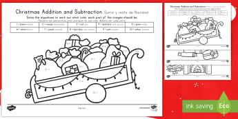 Christmas Addition and Subtraction to 10 Color by Number US English/Spanish (Latin) - Christmas, within 10, Nativity, Jesus, xmas, Xmas, Father Christmas, Santa, coloring, spanish, esl,