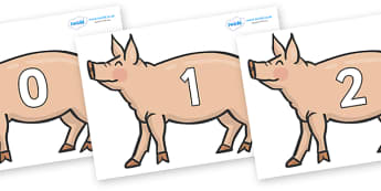 Numbers 0-31 on Pig to Support Teaching on Pig in the Pond - 0-31, foundation stage numeracy, Number recognition, Number flashcards, counting, number frieze, Display numbers, number posters