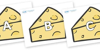 A-Z Alphabet on Cheese - A-Z, A4, display, Alphabet frieze, Display letters, Letter posters, A-Z letters, Alphabet flashcards