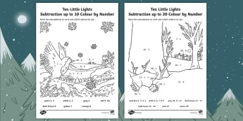 Ten Little Lights Subtraction Colour by Number - Twinkl Originals, Fiction, Christmas, Winter, Snow, Cold, KS1, EYFS, Maths, Calculation, 0-10, 0-20