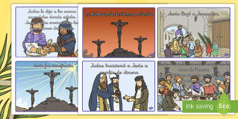 Tarjetas de secuenciar de cuento: La historia de la Semana Santa - Semana Santa, Pascua, ordenar, secuenciar, cuento, historia, Jesús, jesucristo, cristo, religión,