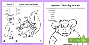 Monsters Colour by Number Addition up to 10 Activity Sheets - Monsters Colour by Number Addition and Subtraction Up to 10, +, substraction, Worksheets, adition, c