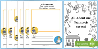 All About Me Booklet English/French - All About Me Booklet - information, workbook, ourselves, book ourselves, all bout me, EAL French,Fre