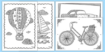 Coloriages anti-stress : Les transports - arts plastiques, arts, couleurs, cycle 1, cycle 2, cycle 3, transport