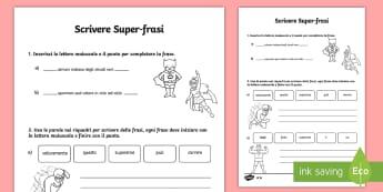Scrivi Super Frasi Differenziate Attività - scrivere, frasi, supereroi, lettere, maiuscole, punto, punteggiatura, grammatica, esercizi, frase, i