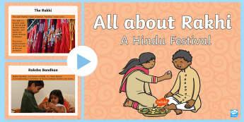 KS1 All about Rakhi Information PowerPoint - Hinduism, Hindu, festival, celebration, brother, sister, love, celebrate, bracelet
