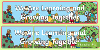 We Are Learning and Growing Display Banner - progression, learning, positivity, corner