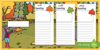 My Autumn Half Term Diary Booklet Arabic/English -  My Autumn Half Term Diary Booklet - holiday, 7 day, diary, writing frame, autumn, plans, booklet, a