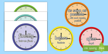 Time Conjunctions on Clocks English/Romanian - Good Time Connectives - time conjunctions on clocks, time, connectives, clock, after, display, poste