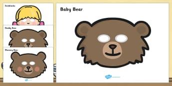Goldilocks and the Three Bears Role-Play Masks - Goldilocks, traditional tales, role play, mask, masks, tale, fairy tale, three bears, porridge, cottage, beds