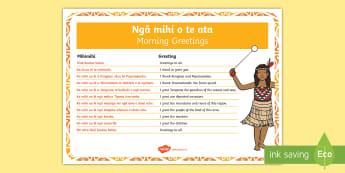 Morning Mihimihi Activity English/Te Reo Māori