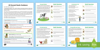 60-Second Reads: On the Farm Activity Cards - 90 words per minute, ninety words, exemplifications, one minute reads, ITAF, ks1, year 2, reading, e