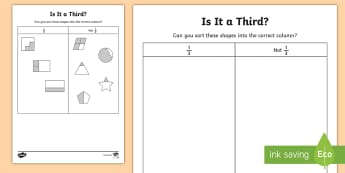 Is it a Third? Activity Sheet - Year 1, Fractions, share, equal, amount, find, total, reason, justify, predict, half, 1/2, quarter,