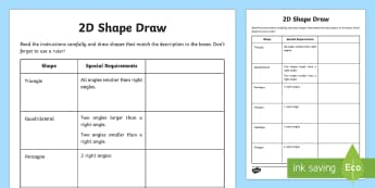 2D Shape Draw Activity Sheet - Learning from Home Maths Workbooks, draw angles, worksheet, create shapes, shape activity, draw shap
