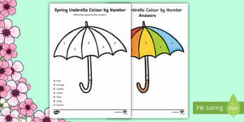 Spring Umbrella Colour by Number - Spring UK, flowers, tulip, flowers