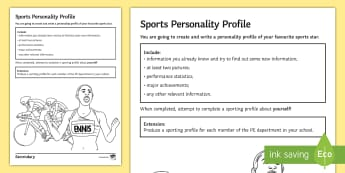 PE Cover Lesson - Sport Personality Profile Activity Sheet - PE, KS3, KS4, Cover, Worksheets, Independent, writing, favourite