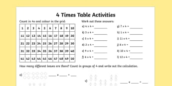 4 Times Table Activity Sheet - times table, times tables, times table worksheet, 4 times table, counting in 4s, 4 times table questions, multiplying by four, times 4, ks2