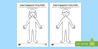 KS1 Royal Engagement Party Outfit Activity - Royalty, Prince Harry, Meghan, Engaged, Marry