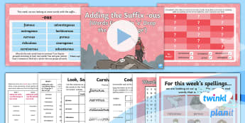 PlanIt Spelling Year 4 Term 3B W4: Adding the Suffix ous Words Ending in e Drop the e but Not ge Spelling Pack - Spellings Year 4, plan it, planit, spelling, adding suffix, ous words