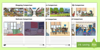 Two Different Worlds, One Home Comparison Worksheet / Activity Sheet - Key Stage One, KS1,Year One, Year Two, Year 1, Year 2, Refugee, worksheet, Refugees, Refugee Week, S