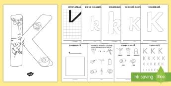 Consolidarea literei K Broșură - alfabetul, alfabetar, litere, sunete, grafisme,Romanian