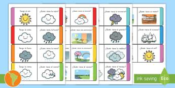 Tarjetas de buscar y emparejar: El tiempo - tiempo, clima, hace sol, hace calor, lluvia, sol, arcoíris, nube, tormenta, nieve, viento, granizo,