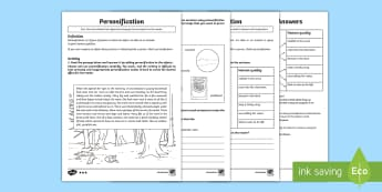 Figurative Language: Personification Differentiated Worksheet / Activity Sheets - KS2, UKS2, LKS2, Key Stage Two, Key Stage 2, Upper KS2, Lower KS2, words and vocabulary, vocabulary,