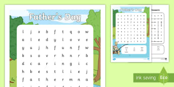 Father's Day Word Search - dad, daddy, pop, grandad, special man, wordsearch