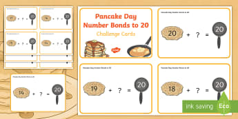 Pancake Day Number Bonds to 20 Challenge Cards - Pancake Day UK Feb 28th, shrove Tuesday, pancakes, lent,