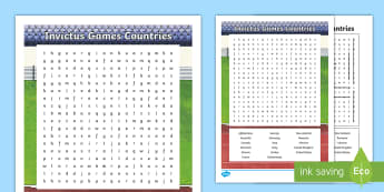 Invictus Games Countries Word Search - KS2 - Invictus Games - 23rd Sept 2017