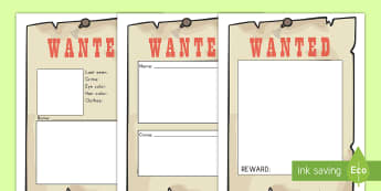 Blank Wanted Role Play Posters - crime, wanted, poster, role-play, American History, Old West, wild wild west, writing