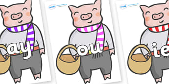 Phase 5 Phonemes on Little Piggy - Phonemes, phoneme, Phase 5, Phase five, Foundation, Literacy, Letters and Sounds, DfES, display