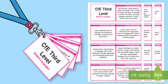 CfE Third Level Modern Languages Lanyard-Sized Benchmarks - CfE Benchmarks, tracking, assessing, progression, modern languages, modern foreign languages, mfl, m