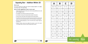 Squashy Box - Addition Within 20 - Mental Maths Warm Up + Revision - Northern Ireland, squashy boxes, addition within 20, odd and even.