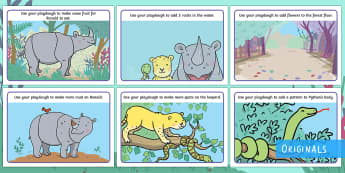 Ronald the Rhino Playdough Mats - Ronald the Rhino, rhyming, pattern, story, jungle, Africa, rhino, playdough, playdoh, finger gym