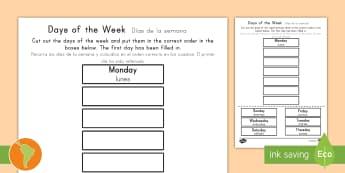 Days of the Week Cut and Stick Activity Sheet US English/Spanish (Latin) - Days of the Week Cut and Stick Worksheet - days, weeks, calendar, literacy, reading, fine motor, mat