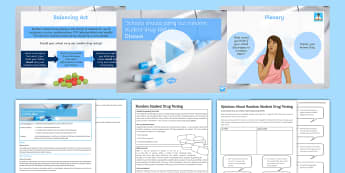 Drug Testing In Schools Lesson Pack - drugs, testing, random Student Drug Testing, rights, support, treatment