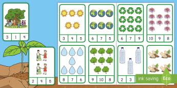 Earth Day Counting Clip Cards Activity - April 22nd, recycling, recycle, Earth Childhood One-to-One correspondence, Number Recognition skills