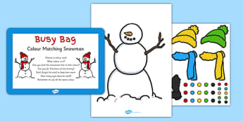 Colour Matching Snowman Busy Bag Prompt Card and Resource Pack - colour, matching, snowman, busy bag, pack