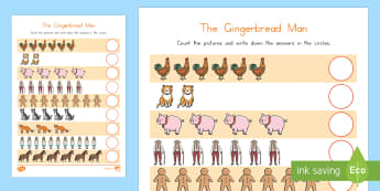 The Gingerbread Man Counting Activity Sheet - Gingerbread Man, USA,Worksheet, count, counting, how many, number