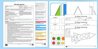 EYFS Nature 2D Shapes Adult Input Plan and Resource Pack - Beginning to use mathematical names for  'flat' 2D shapes, and mathematical terms to describe sh