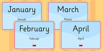 Months of the Year Signs EAL Slovak Version - language, display