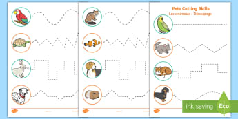Pets Themed Cutting Skills Activity Sheet English/French - Pets, cat, dogs, rabbits, worksheets, cutting, scissor skills, fine motor, , activity sheet, EAL Fre