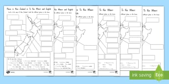 Labelling Aotearoa Differentiated Worksheet / Activity Sheets - New Zealand Geography, maps