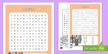 Baptism Word Search - christen, font, christening gown, church,